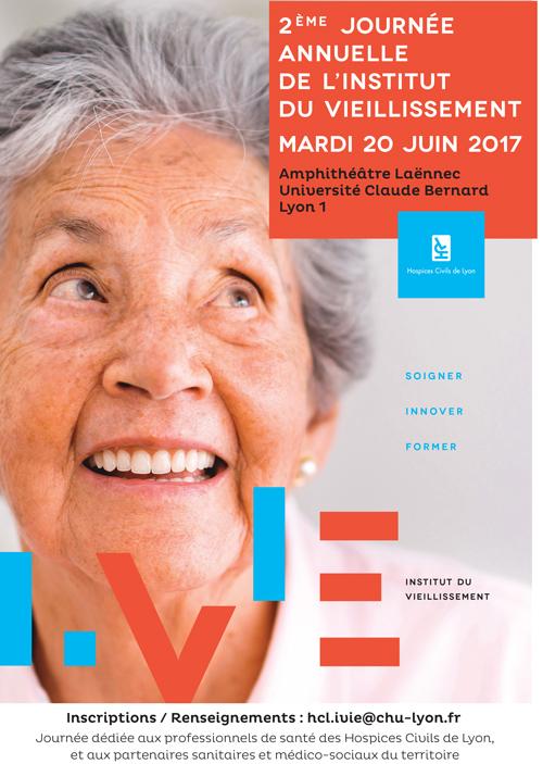affiche de la 2e journée de l'Institut du vieillissement des HCL