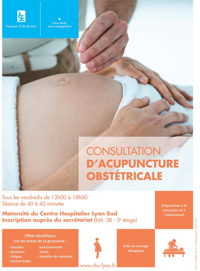 Consultation d'acupuncture obstétricale à la maternité du Centre Hospitalier Lyon Sud