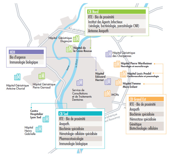 Carte des laboratoires de biologie médicale et pathologie des HCL