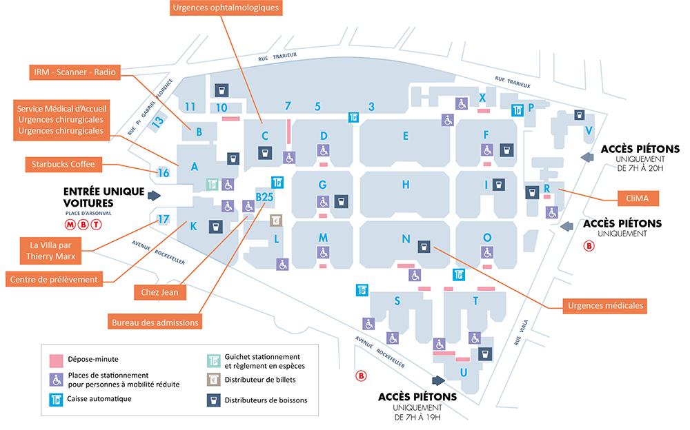 Plan de l'hôpital Edouard Herriot (HEH) - HCL