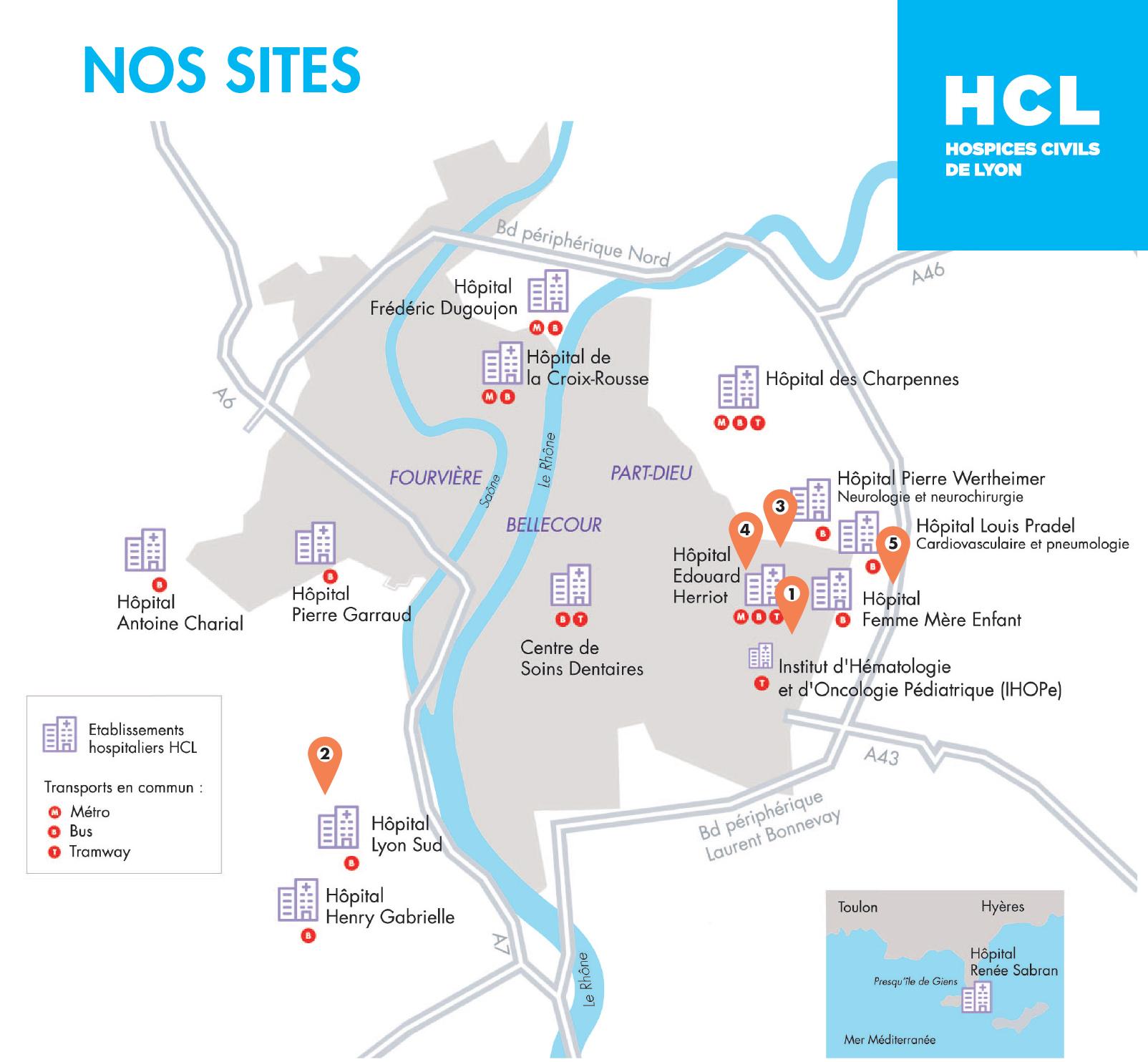 Les sites de formation des Hospices Civils de Lyon